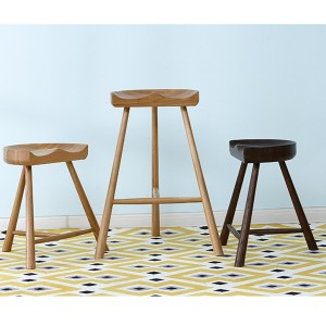 Solid Wood High and Low Bar Stool Cafe Saddle Stool#0081