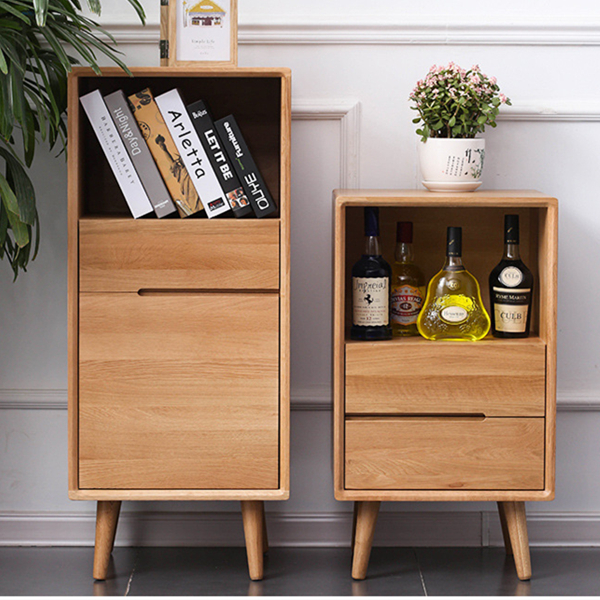 Simple Solid Wood High and Low Side Cabinet Storage Cabinet#0024 Featured Image