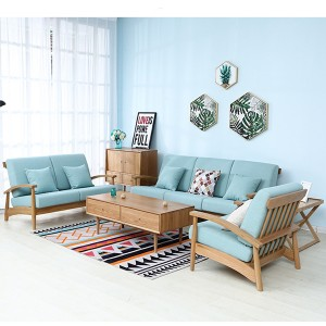 Modern Simple White Oak Japanese Style Combined Living Room Sofa Furniture#0027