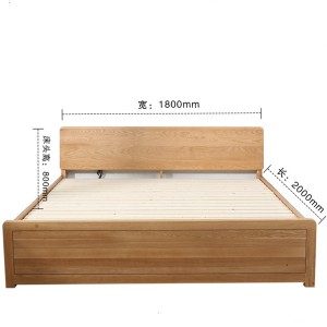 High box bed solid wood double bed storage bed#0111