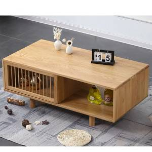 Nordic Simple Oak Solid Wood Coffee Table, Small Apartment Living Room Furniture#0009