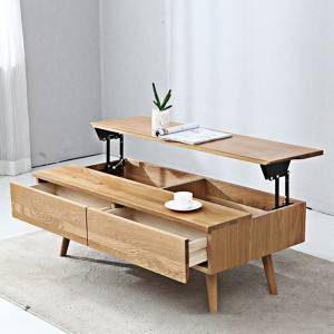 Nordic Simple Solid Wood Can Be Raised and Lowered for Living Room Coffee Table#Tea Table 0005