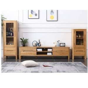 Nordic minimalist white oak solid wood small apartment TV Stand cabinet#0021