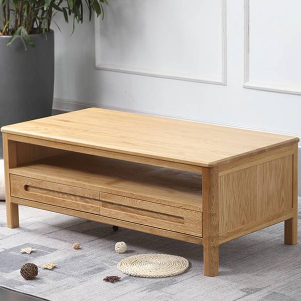 Modern Minimalist White Oak Solid Wood Coffee Table#Tea Table 0008 Featured Image