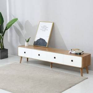 Nordic Modern Solid Wood Living Room Two-Color TV Stand Cabinet# 0020