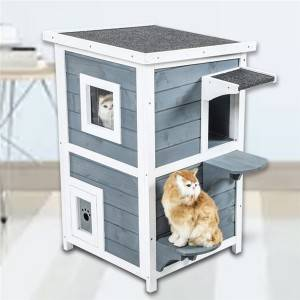 Wooden Deluxe Elevated Cat House with Porch and Balcony