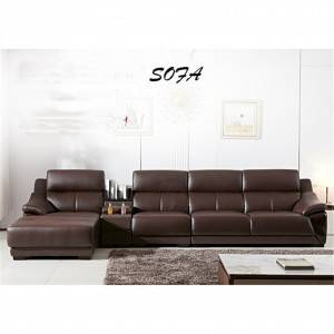 Living room furniture leather modern solid wood frame sofa 0209