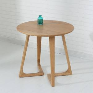 Simple Casual Round Table with Legs, Mini Solid Wood Side Table# Tea Table 0011