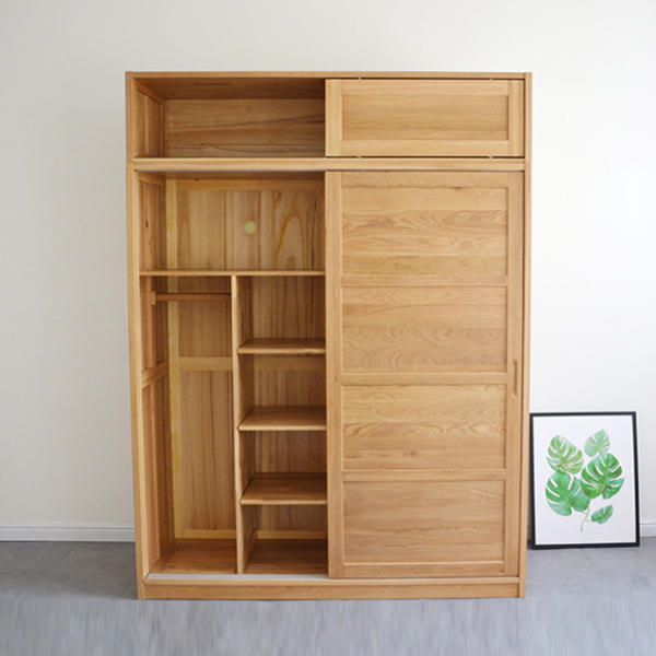 Oak Wardrobe Silent Damping Slide Rail Sliding Door Wardrobe Bedroom Furniture#0108 Featured Image