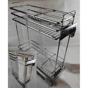 312 Series elliptical flat iron narrow chrome pull out wire basket drawer for kitchen cabinet
