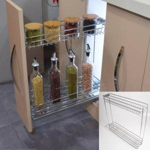 401 Series 2 layer grid type chrome pull out wire basket drawer with bottom mount drawer guide