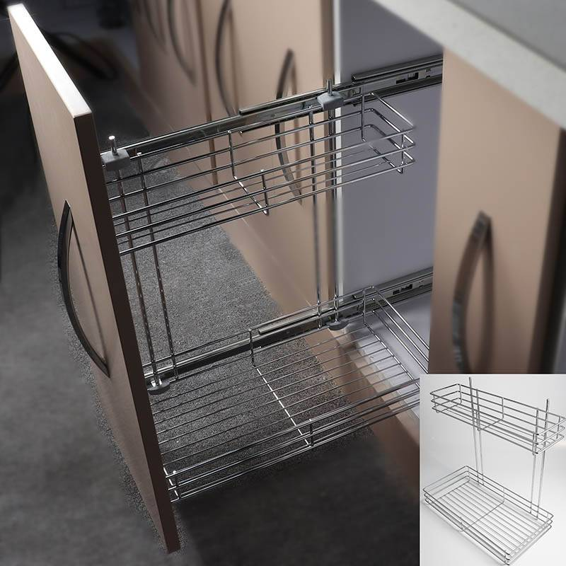 322 Series large & small two layer side mount metal sliding wire basket drawer Featured Image