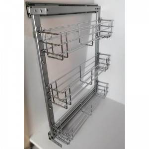 341 Series metal sliding wire seasoning basket drawer with frame for kitchen cabinet