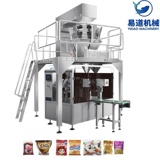 Rotary Given Bag Power Flour Spice Sugar Doypack Pouch Filling Packing Machine