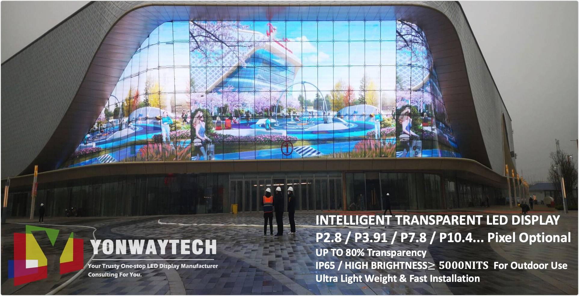 Indoor Outdoor Window Curtain Transparent LED Screen