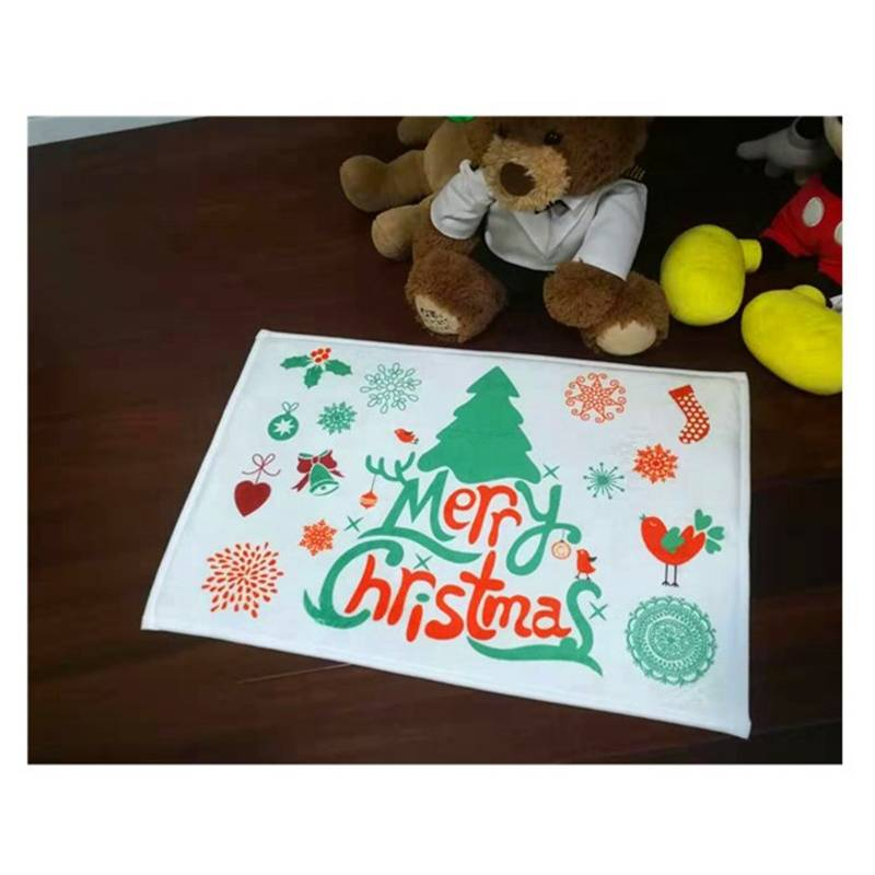 Made in China Carpet Factory Cheap 50*80cm Coral Fleece Christmas Doormats Outdoor Featured Image