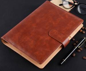 custom leather color custom specification business buckle notebook