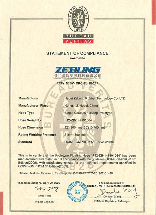 Floating tubing certificate