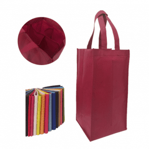 Non woven wine bag for four wine bottles, two wine bottles