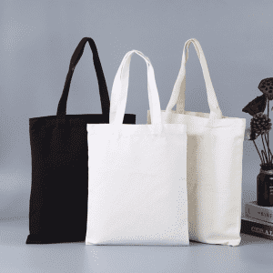 White Black Blank Natural Canvas Fabric Shopping Tote Bag for Market