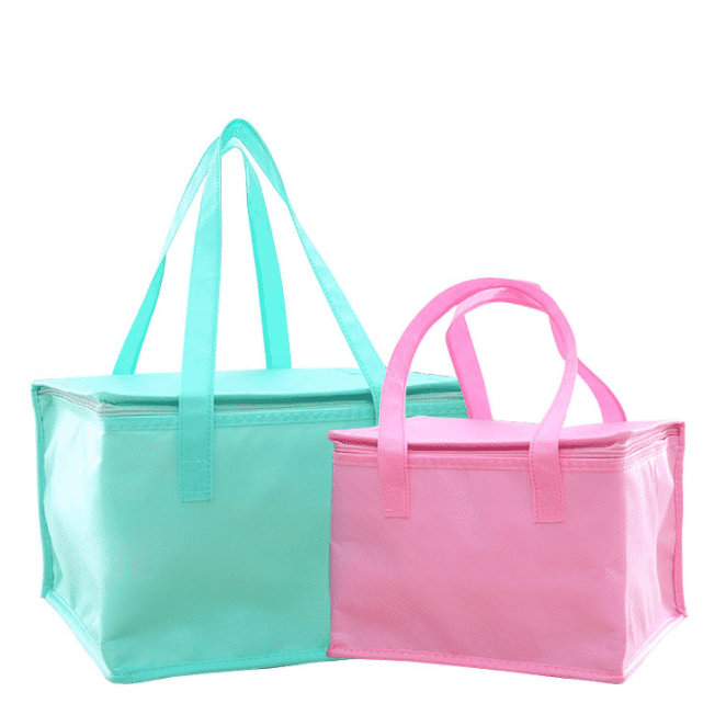 Zipper Pink Blue Nonwoven Thermal Bag Take Out Seafood Cake Bag Non Woven Insulation Bag For Food Featured Image