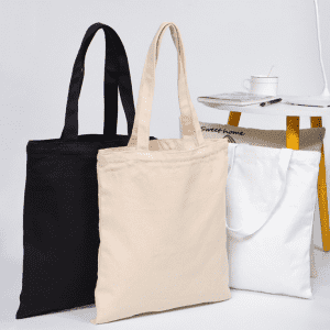 Promotional Custom Logo Printed Simple Style Organic Calico Cotton Canvas Tote Bag