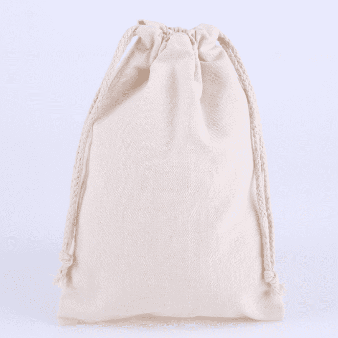 Drawstring bag natural color blank cotton drawstring pocket creative canvas bundle pocket can print logo Featured Image