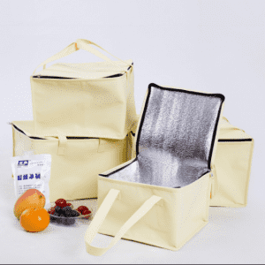Zipper Beige nonwoven ice cream cake insulation cooler bag