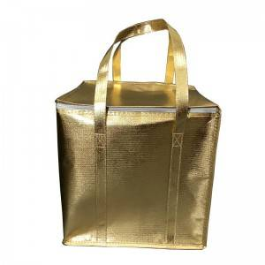 Zipper gold non-woven fabric thermal bag refrigerated cake take out cooler bag