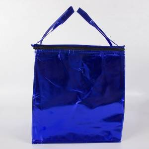 Zipper Royal Blue coated non-woven insulation bag Portable Non Woven Ice Cooler Bag Insulated