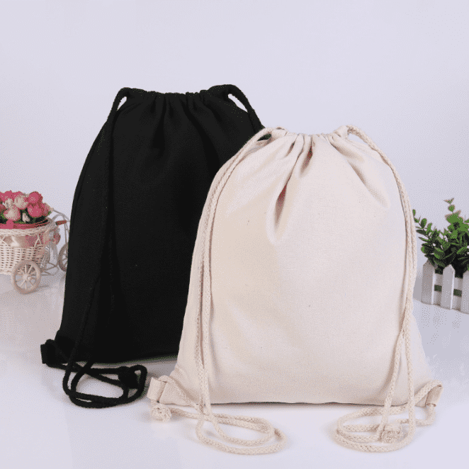 Eco-Friendly Drawstring Bag Cotton Gift Bag Drawstring Drawstring Cosmetic Bag Featured Image
