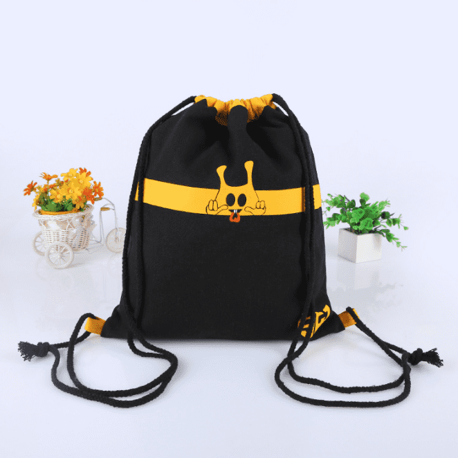 Personalized Colorful Friendly Eco Black Joint Drawstring Canvas Backpack Bag Featured Image