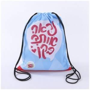 Custom logo sports backpack nylon polyester drawstring bag with reusable material