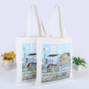 Wholesale custom black tote bag with printing for shopping