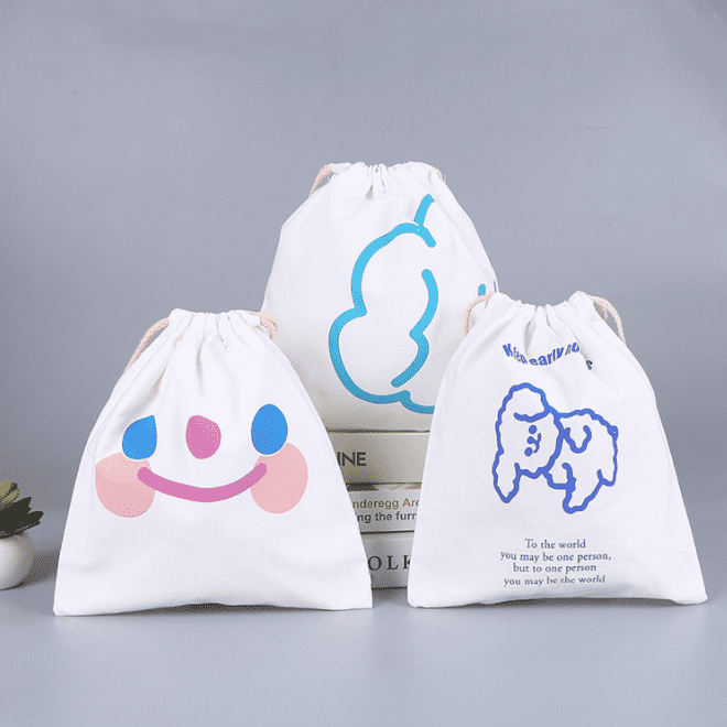Canvas bag bundle pocket fashion cotton drawstring bag bag cotton drawstring pocket canvas accessories storage bag can be printed logo Featured Image