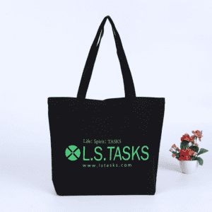 High-quality custom logo men eco black canvas tote bags with gusset