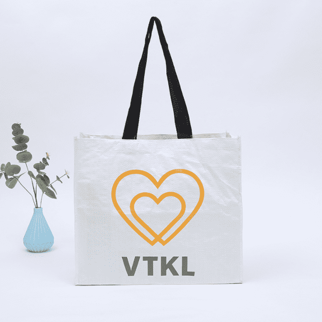 Eco-Friendly White Woven fabric  Nonwoven Carry Shopping Bag with Logo Featured Image