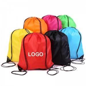 Custom Plain Drawstring Backpack 420D 210D Polyester Drawstring  Gym Bag With Logo