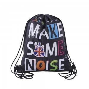 China original factory hot sale custom promotion black polyester drawstring backpack bag