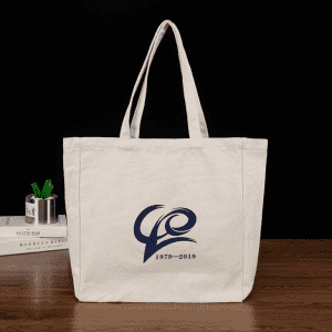Wholesale custom logo promotional plain beige cotton canvas tote bag