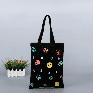 Black Cotton Canvas Cloth Tote Shopping Hand Bag with Logo and Bottom Low MOQ