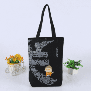 custom design Palin blank organic black canvas cotton tote bag with gusset