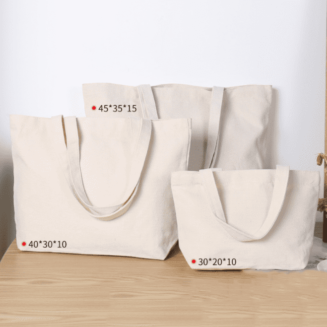 Logo-Print Organic Cotton Canvas Fabric Blank Tote Bag Cotton Tote Bags With Gusset Featured Image