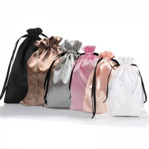 Promotional Black Virgin Hair Drawstring Silk Wig Packaging Bag Satin Bag
