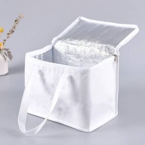Bolsa de Alimentos Zipper White Lunch Cooler Bag Insulation Folding Picnic Portable Food Delivery Bag Food Thermal Bag