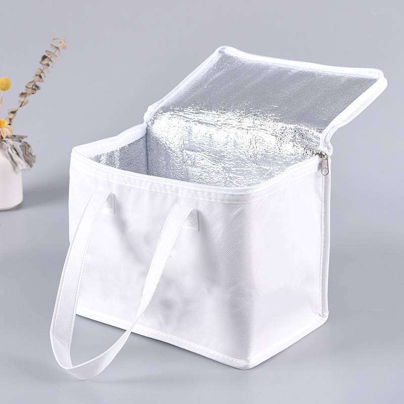 Bolsa de Alimentos Zipper White Lunch Cooler Bag Insulation Folding Picnic Portable Food Delivery Bag Food Thermal Bag Featured Image