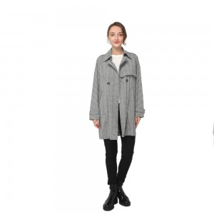 2020 modern fantasy plaid trench coat with lapel collar and double-breasted button fastening women wholesale