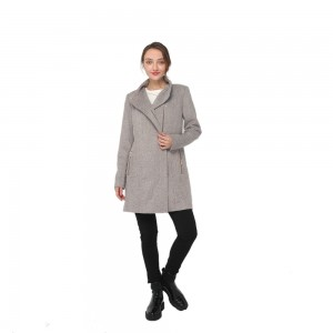 2020 modern high collar long sleeve wool blend coat women wholesale