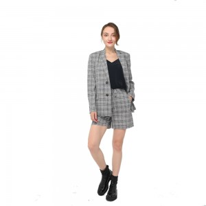 2020 modern linen checks front fastening with contrast buttons long sleeve oversize blazer women wholesale