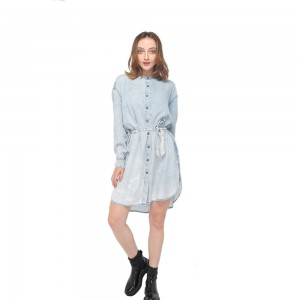 2020 modern shirt collar snow washed tencel denim long sleeves dress wholesale